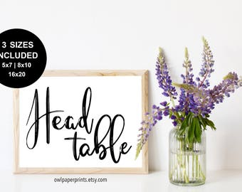 Head Table Sign - Printable PDF, Wedding head table sign, bride and groom table, lead table, event table
