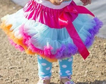 CLEARANCE BOUTIQUE Bright Rainbow Pettiskirt Birthday Tutu Size 2-4y