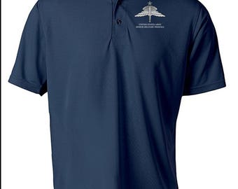 US Army Senior HALO Embroidered Moisture Wick Polo Shirt -7814
