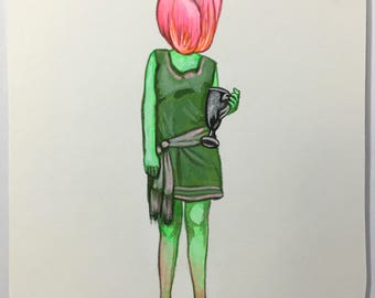 Mini Tulip Girl Painting
