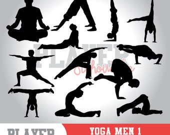 Yoga Men SVG, Yoga Meditation svg, Yoga digital clipart, athlete silhouette, Yoga Men sport, cut file, design, A-025