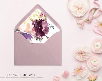 Printable Envelope Liner, Floral Liner, Envelope Liners, Envelope Liner Template, DIY Envelope Liner, INSTANT DOWNLOAD, 7 Sizes - Olivia