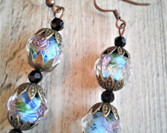 Crystal glass beaded earrings with copper