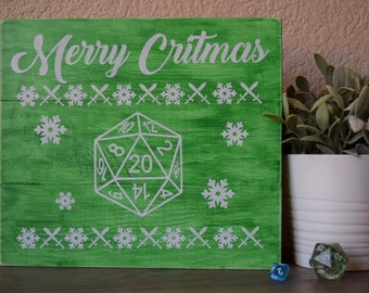 Green Merry Cristmas 10.5x12 sign - D&D, tabletop gaming