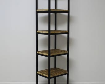Wooden bookcase with steel recycled / reclaimed wood and steel shelf / bookcase industrial / industrial shelf