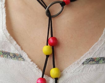 Wooden Bead Lariat Necklace