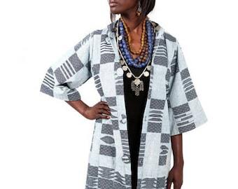 African vintage antique indigo mudcloth Ankara dashiki women African traditional jacket