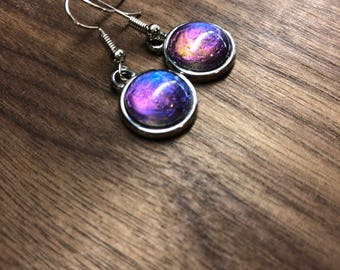 Intuition 2: Color shifting, silver tone drop earrings (blue, purple, orange)
