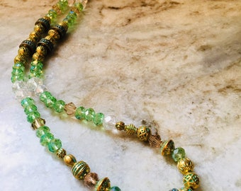 Antiqued Gold and Verdigris Beaded Necklace with Venetian Crystal Accents