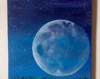 Full Moon Original Acrylic Canvas Art