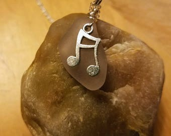 Necklace-Translucent Beach glass Musical Notes