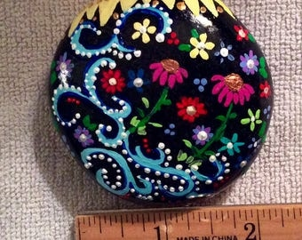 Cone flowers and sun hand painted rock