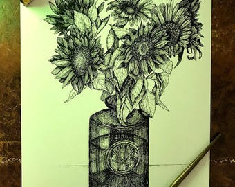 Pen and Ink Sunflower illustration print