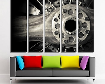 Wooden aircraft propeller and engine cylinders Aircraft photo Aircraft print Aircraft decor Aircraft wall art Aircraft canvas Aircraft art