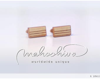 wooden cuff links wood cherry maple handmade unique exclusive limited jewelry - mahoshiva k 2017-10