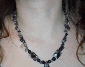 Amethyst and Lava Stone necklace