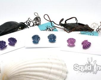 Seashell stud earrings mermaid siren cute