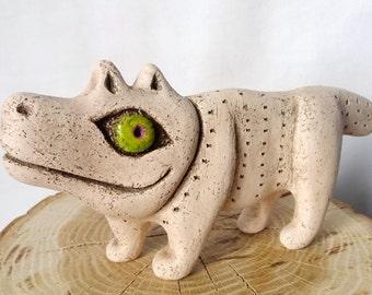Ceramic dog figurine Smiling dog Funny dog Happy animal Dog as a gift Dog statuette Ethnic dog Ethnic ceramics