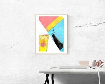 """Original Contemporary Art, Mixed-Media Paint Collage, """"icecream 1."""""""