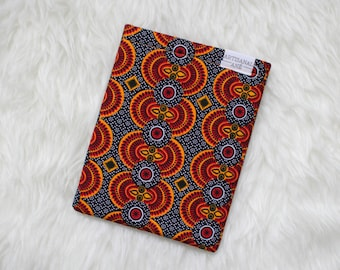MIDI- Book sleeve, book pouch, book protector, Orange book sleeve,  African print book sleeve,  BiblioSleeve