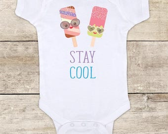 Stay Cool colorful ice cream funny baby bodysuit baby shower gift - Made in USA - toddler kids youth shirt