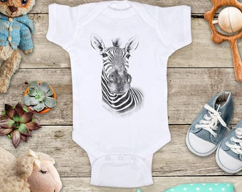 Zebra face graphic Zoo animal wild kingdom Shirt - Baby bodysuit Toddler youth Shirt cute birthday baby shower gift
