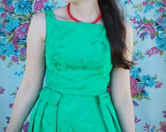 Vintage style emerald green satin brocade dress - size XS/S