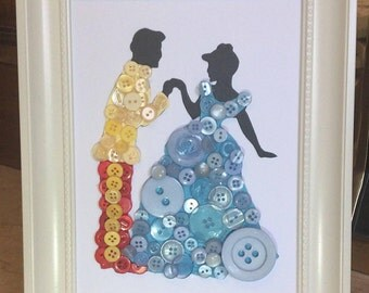 Cinderella and Prince Charming button art