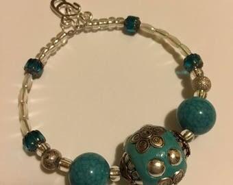 Turquoise like bead wrap bracelet