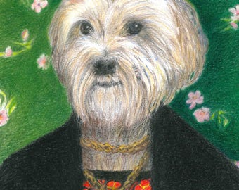 Custom Portrait of Your Pet in Frida Kahlo's Self-Portrait, 8 x 10""