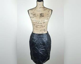 Women's vintage 100% leather pencil skirt