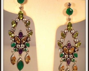 Nicky Butler 11.20ct multigemstone sterling silver chandelier earrings