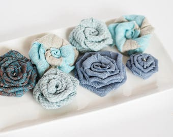 Burlap flowers set of 7, burlap rosettes, fabric flowers, burlap wedding decor, handmade rustic flowers, DIY flowers, flowers for crafts