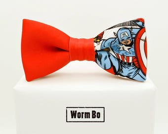 Captain America Bow tie, Superheroes bowtie, Cartoons and comics