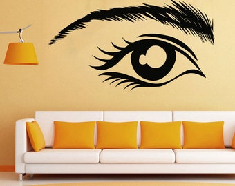 Wall Decal Window Sticker Beauty Salon Woman Face Eyelashes Lashes Eyebrows Brows 24