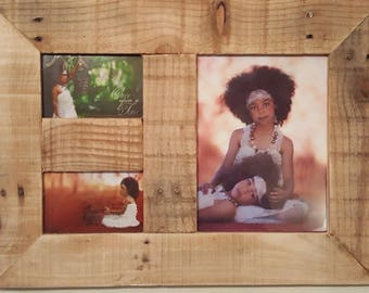 Rustic reclaimed wood photo frame holds one 10x8 photo & two 6x4 photo's. Other sizes / options available please email for quote.