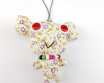 Animal plush keychain, keyring, button rag doll, novelty button doll, stuffed plush, animal keychain, bag charm,