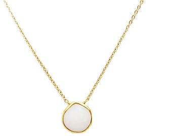 White Chalcedony Gold Bezel Charm Necklace