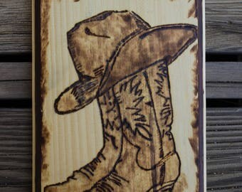 """Cowboy Hat and Boots 9.5"""" x 6.75"""""""