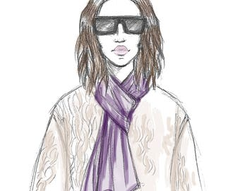 Glasses Girl - Print - Available in multiple sizes