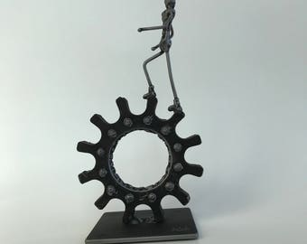"Metal sculpture- ""Getting Somewhere"" --Welded Figure --Solid Steel --Signed 'one of a kind' Sculpture"