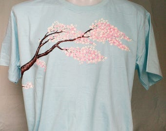 Hand painted T-shirt 'cherry bloossom'
