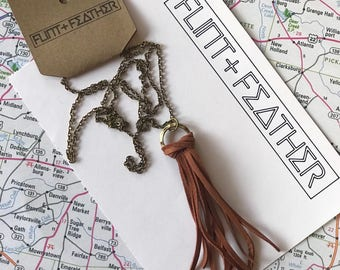 Long Deerskin Leather Tassel Necklace with a Brass Cable Chain in Sienna