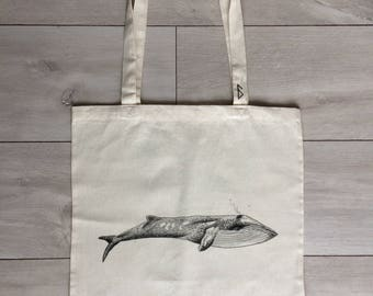hand-painted, eco-friendly Whale tote bag #1SeaAnimals