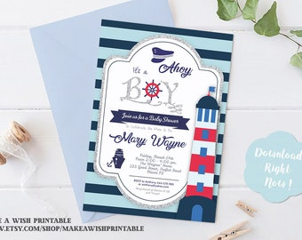Ahoy It's a Boy Baby Shower Invitation, Boy Baby Shower Invites, Nautical Baby Shower Invitation, Blue Shower Invites, Ahoy Its A Boy