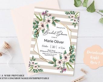 Gold Geometric Bridal Shower Invitation, Floral Bridal Shower Invitation Instant Download, Rustic Bridal Shower Invitation Printable, Flower