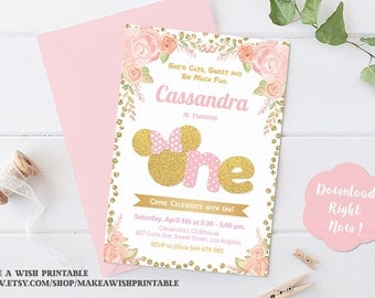 Pink and Gold First Birthday Invitation, Pink and Gold Minnie Mouse Birthday Invitation, Minnie Mouse Invitation 1st Birthday, Party Invites