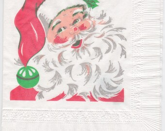 Vintage 1960s paper napkin with a Santa theme, in cocktail size