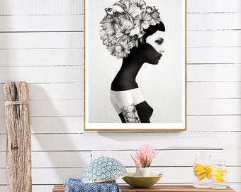 Nordic Flower Girl Canvas Print