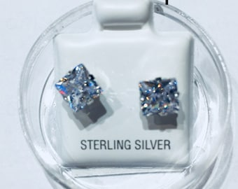 Silver Studs Earrings.  Sterling Silver 92.5.  Square Stone Cut of 6 mm  Free shipping in US. Available 24/7